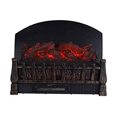 Caesar Fireplace FP201R-P Stove Adjustable Electric Log Set Heater with Realistic Ember Bed 1500W Remote Controller Black