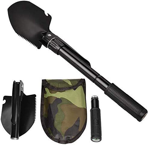 Jipemtra Snow Folding Shovel, Military Camping Shovel Survival Gear Entrenching Tool with Carrying Pouch Metal Handle for Camping Trekking Gardening Fishing Backpacking