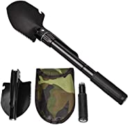Jipemtra Military Survival Shovel Portable Folding Mini Emergency Survival Compass Spade Entrenching Tool with
