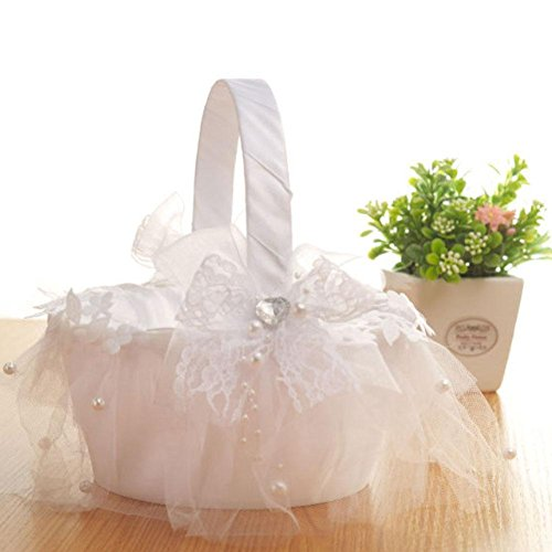 Taloyer Bride Hand Knit Ribbon Lace Flower Basket Delicate Wedding Supplies by Taloyer (Image #6)
