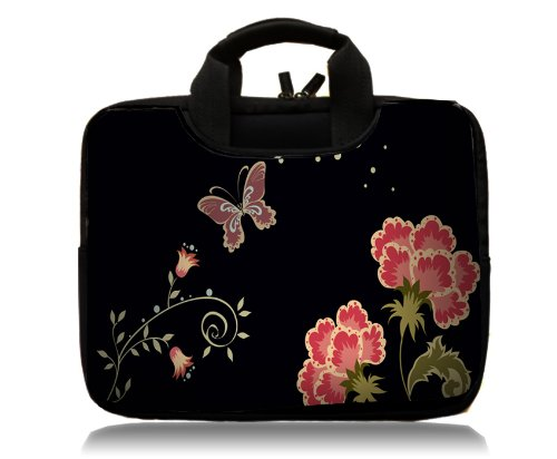"""Brand New Fashion black with butterfly and flower 16"""" 17"""" 17.3"""" inch Soft Neoprene Laptop sleeve Bag Case Notebook Carrying Sleeve Cover Pouch with Handle & 2 PocketsApple MacBook pro 17 /Dell Inspiron 17R Vostro XPS Alienware M17x /Acer/ lenovo / Samsung 700 Sony Vaio E 17/ HP dv7 ENVY 17/Asus G74 K73 N75 A93 17 inch Laptop Computer"""