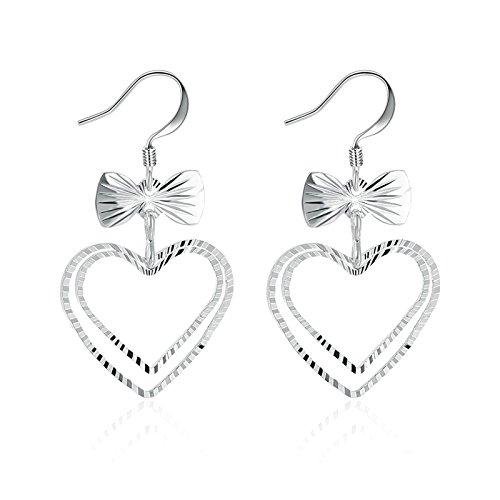 Anazoz Love Heart Drop Earrings for Womens with Butterfly Knot Silver Plated Base