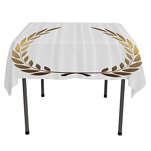 Gold Tablecloth Printing Ancient Circular Laurel Wreath with Interlocking Branches and Evergreen Leaves Design Gold White Waterproof Tablecloth Cheap Spring/Summer/Party/Picnic 60 by 90 ()