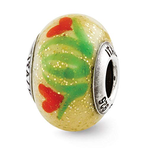 Sterling Silver Reflection Yellow with Orange Flowers Italian Murano Bead