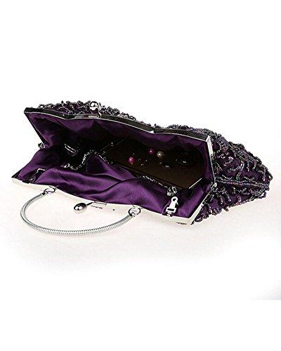 Whoinshop da donna, per abiti da sera, con lustrini, con perla incastonata, Wedding frizione Viola (viola)