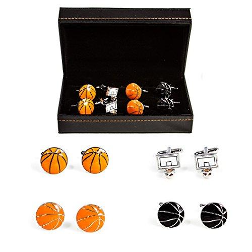 - MRCUFF Basketball Hoop and Basketballs 4 Pairs Cufflinks in a Presentation Gift Box & Polishing Cloth