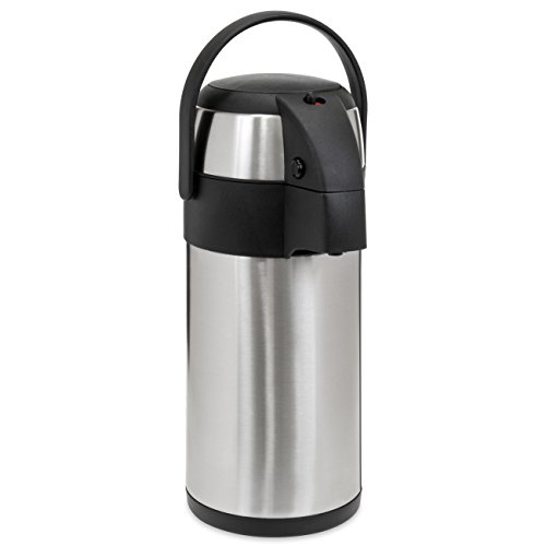 Best Choice Products 5L Stainless Steel Thermal Airpot Coffee Hot Beverage Dispenser w/ Safety Lock and Handle - Silver - Coffee Hot Beverage