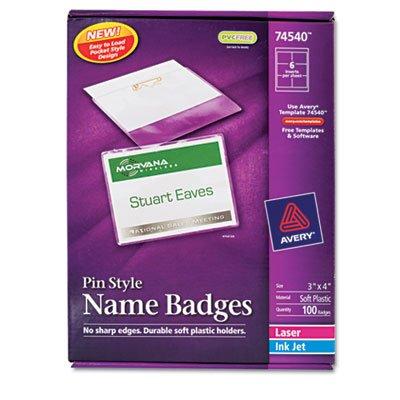 Badge Holder Kit w/Laser/Inkjet Insert, Top Load, 3 x 4, White, 100/Box, Sold as 100 (Inkjet Badge Holder Kit)