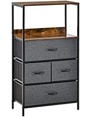 HOMCOM Chest of Drawers Bedroom Unit Storage Cabinet with 4 Fabric Bins for Living Room, Bedroom and Entryway, Black