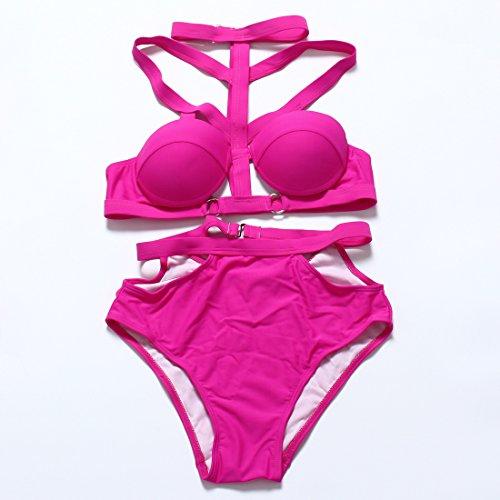 YONGYI Europa y el verano la Sra. Sandy Beach y de dos piezas traje de baño dividida bra bañador temperamento y bikini traje de baño El rojo