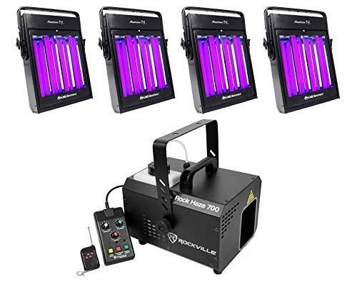(4) American DJ UV Panel HP Blacklight Wash Light Fixtures+700 CFM Haze Machine