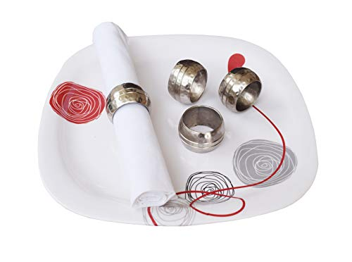 Silver Napkin Rings, Napkin Rings, Nickle Napkin Ring, Perfect for Wedding Receptions, Dinner Parties, Dining Room,Family Gatherings, Everyday Use- Set your Table with Style -4pack -1.5