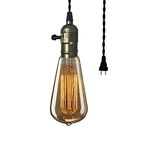 VIVOHOME Vintage 60W Edison Plug-In Mini Pendant Light (Plug In Light Pendant Mini)