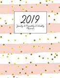 2019 Weekly Planner: Yearly Monthly and Weekly Planner with Address Contact Organizer Paper 2019 Calendar with College Ruled Paper and Grid Paper Pink Stripe Style