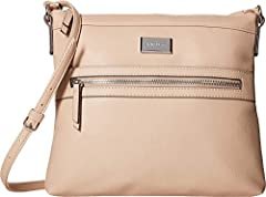 Find ease in travel with this Nine West® Sure Spring Crossbody. Made of 100% man-made materials.  Zip closure. Slim adjustable cross-body strap. Exterior offers a single zip pocket with floral detailing and exposed zippers. Interior provides...