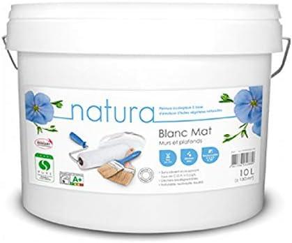Peinture Natura Blanc Mat Mur Et Plafond Monocouche Naturelle écologique Et Sans Odeur 10l 130m 10l Mat