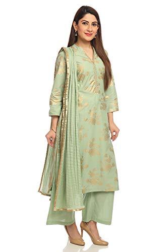 BIBA Pista Green Straight Cotton Suit Set Size - Suit Salwar Cotton