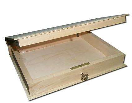 Plain nuevo de madera con cerradura caja/estantería para libros/recipiente - 18 x