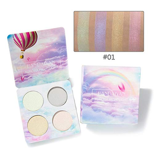 Highlighter Powder Palettes Shimmer Waterproof Professional Matte High Light Powder Face Makeup Bronzer Highlighter Powder 4 Colors Highlighter Palettes (A)