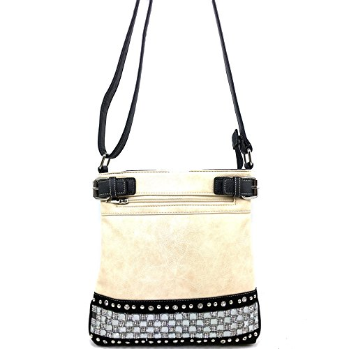 West Pastel Crystal Bling Purse Messenger Body Beige Handbag Cross Justin Rhinestone Carry Concealed Zipper RXYZd