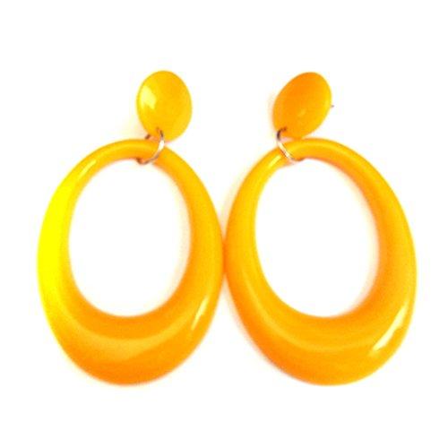 Yellow Hoop Earrings Drop Oval Hoop Earrings 3.5 inch Long