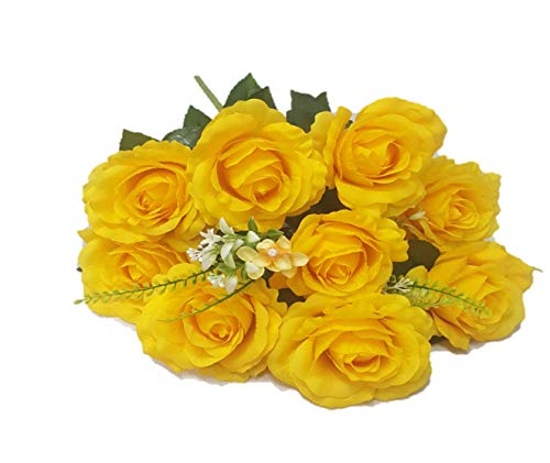 Silk Flower Garden 12 Heads Rose Bouquet (Golden Yellow)