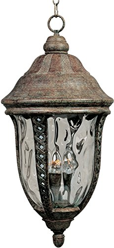 Hanging Whittier - Maxim 3111WGET Whittier Cast 3-Light Outdoor Hanging Lantern, Earth Tone Finish, Water Glass Glass, CA Incandescent Incandescent Bulb , 40W Max., Dry Safety Rating, Flax Fabric Shade Material, Rated Lumens