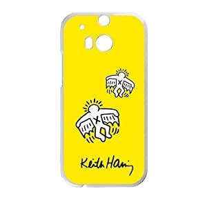 Canting_Good Custom Painted ZQ Keith Haring Yellow Case for HTC ONE M8