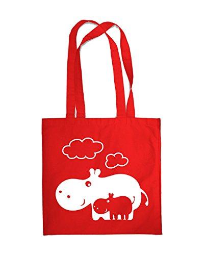 Shopping Bag Eco Hippo Mom Tote Beach Shoulder Handbag (Red)