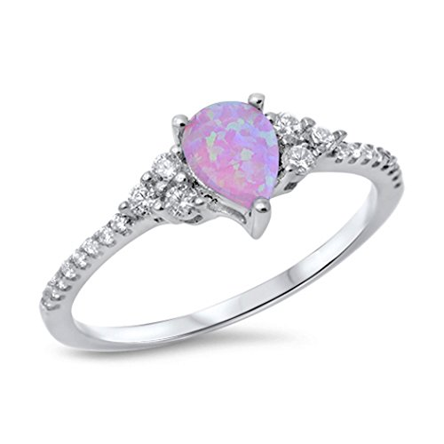 Opal Pear Ring (Sterling Silver Pink Lab Created Opal Clear CZ Pear Shape Ring (Size 4 - 10) - 6)