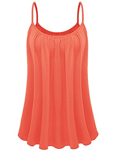 - 7th Element Womens Plus Size Cami Basic Camisole Tank Top (Salmon Orange,2XL)