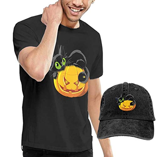 Comfortable Men's T Shirt and Caps Combination Black for Travel Halloween Cat -