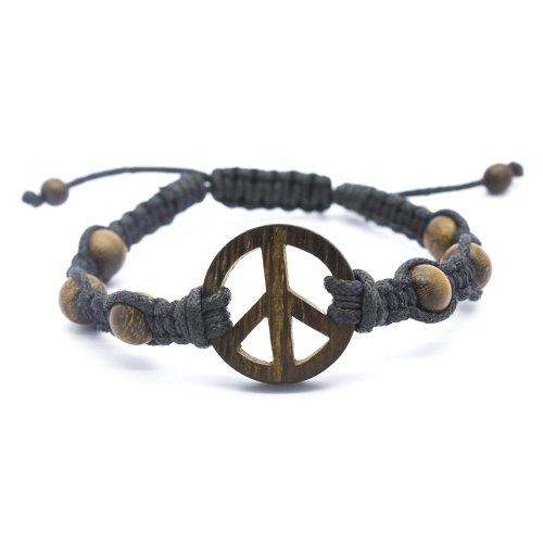 Peace Sign Robles Wood Macrame Bracelet, Sliding Lock (7 IN)