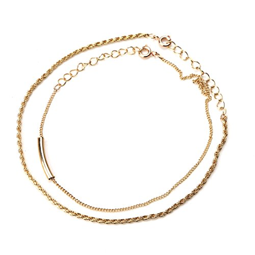 MEIBEADS Anklet Bracelet Foot Chain Gold Anklets for Women Foot Jewelry Argent Indian Ankle Gift (bend)