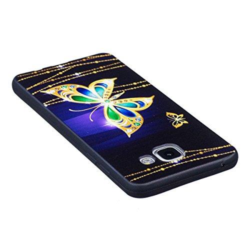 Carcasa Samsung Galaxy A5 2017, Funda Samsung Galaxy A5 2017 Silicona Negra, EUWLY Alta Calidad Suave Funda Caso Ultra Delgado Ligero Negro Silicona TPU Flexible Gel Protectora Parachoques Cubierta Ca Mariposa Oro