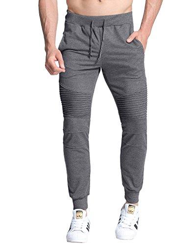 MODCHOK Men's Tracksuit Bottoms Casual Sport Jogging Jogger Trousers Sweat Pants Dark Grey M