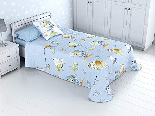 Cabetex Home - Colcha Bouti Infantil Reversible 100% con Funda de cojin y Tacto algodon Mod Espacial (Cama de 90 cm (180x270 cm))