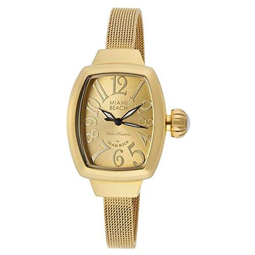 Glam Rock MBD27145 Watch Miami Beach Art Deco Ladies - Gold Dial Steel Case Quartz Movement