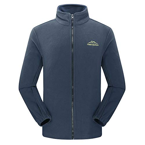 iHPH7 Men's Autumn Winter Outdoor Thickening Zipper Fleece Stand Collar Sport Coat