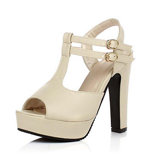 AllhqFashion Damen Fischkopf Schuhe Weiches Material Schnalle Sandalen mit Hohem Absatz Cremefarben
