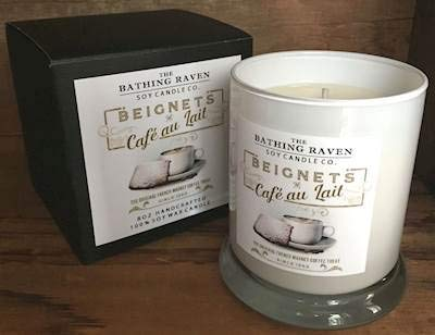 BATHING RAVEN BEIGNETS Cafe AU Lait - The New Orleans Collection Scented Soy 8 oz Gift Boxed Jar Candles