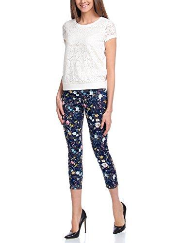 oodji Collection Mujer Pantalones de Algodón Estrechos Azul (7962F)
