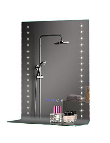GlassTek Inc  LED Vanity Mirror 20 1/2 X 30 (520x756mm) with Surface Touch  Switch and Blue Digital Clock