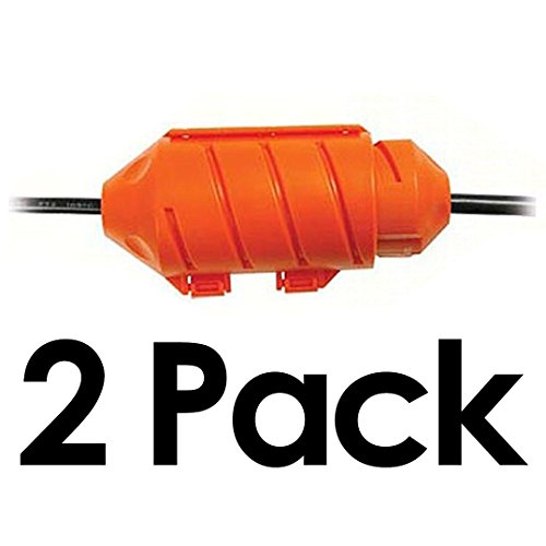 Extension Cord Protector (Cord Connect Water-Tight Cord Lock - Orange (2 Pack))