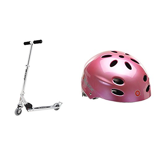 Razor A2 Kick Scooter, Clear w/Pink Helmet by Razor