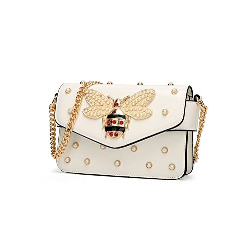 Yayabb Bee Shoulder Cross Body Bag with Pearl Decorations for Women Daily Work ()