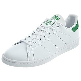 adidas Originals Men's Stan Smith Leather White/Green Athletic Sneakers, White, Size 13
