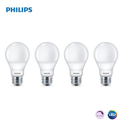 Philips LED Dimmable A19 Light Bulb: 800-Lumen, 5000-Kelvin, 9-Watt (60-Watt Equivalent), E26 Base, Frosted, Daylight, 4-Pack
