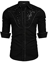 Men's Embroidery Sequin Long Sleeve Shirt