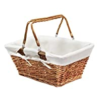 JVL Split Willow Shopping Storage Basket with Lining